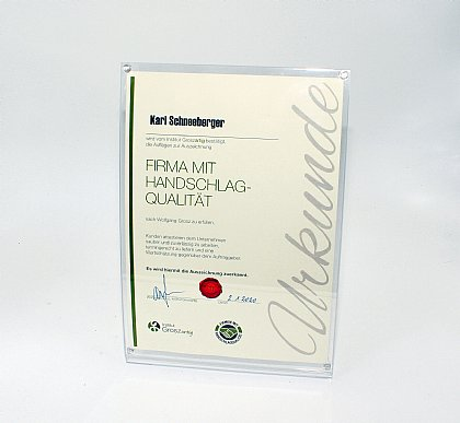 Auszeichnung für Handschlag Qualität